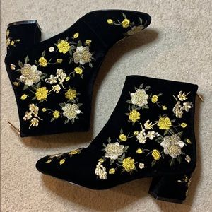 Topshop floral embroidered ankle boots